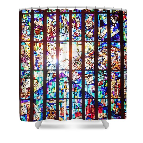 Stained Glass Historical Our Lady Of Czestechowa Shrine Shower Curtain