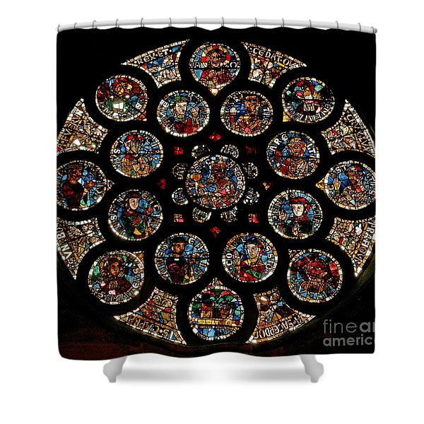 Stained Glass Rose Window Depicting The New Covenant, Circa 1235 Shower Curtain