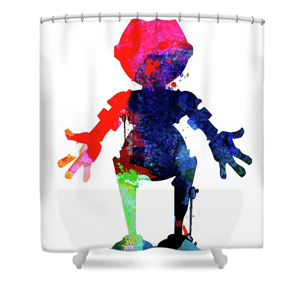 Star Droid Watercolor 4 Shower Curtain