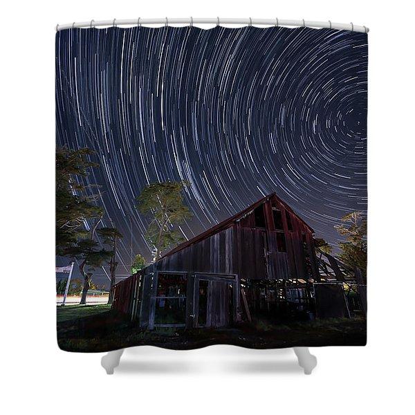 Star Trails Over Bonetti Ranch Shower Curtain