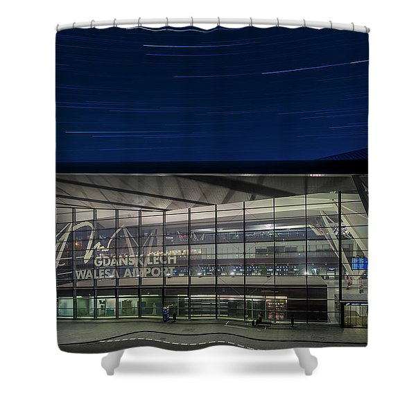 Star Trails Over Gdansk Aiport Shower Curtain