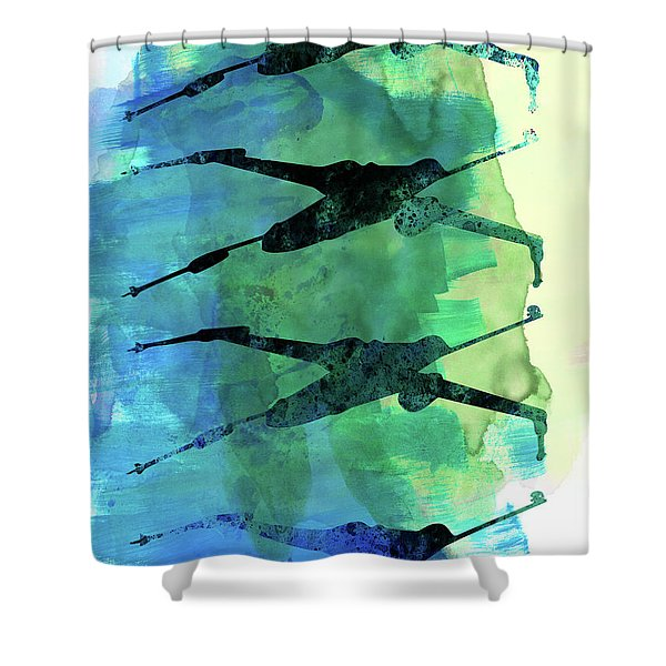 Star Warrior X-wing Watercolor 1 Shower Curtain