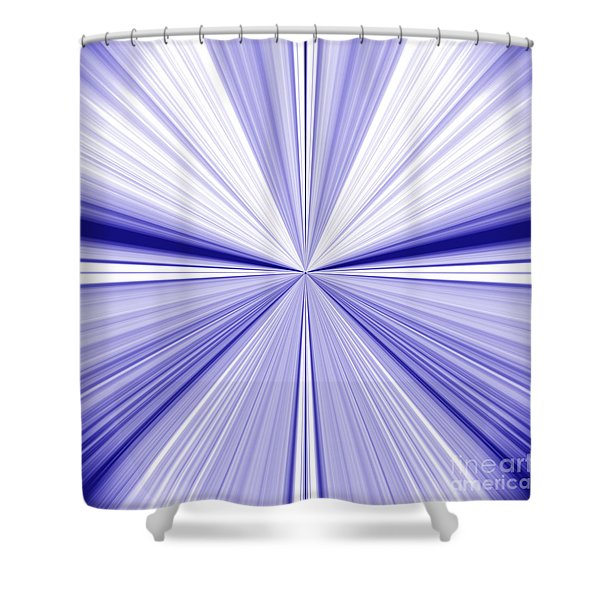 Starburst Light Beams In Blue And White Abstract Design - Plb455 Shower Curtain