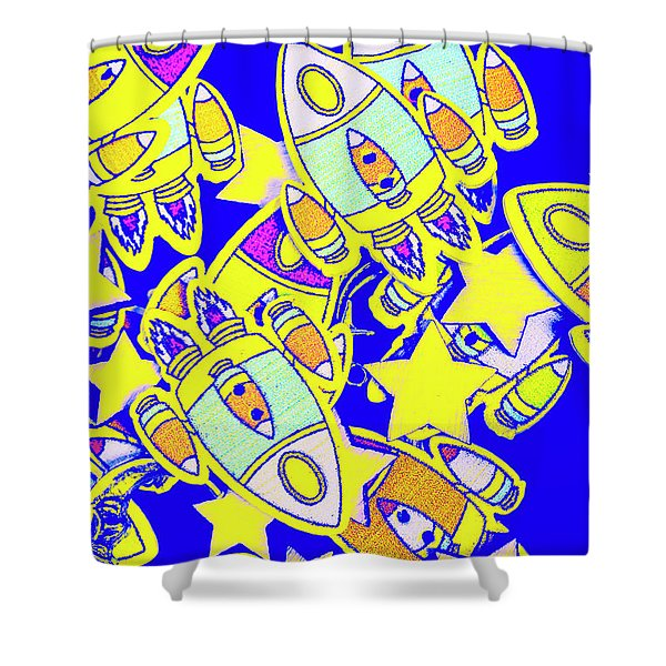 Stars And Spacecraft Shower Curtain