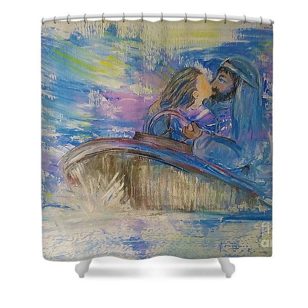 Shower Curtain featuring the painting Staying The Course by Deborah Nell