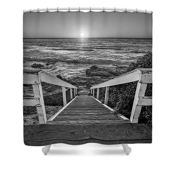 Steps To The Sun  Black And White Shower Curtain