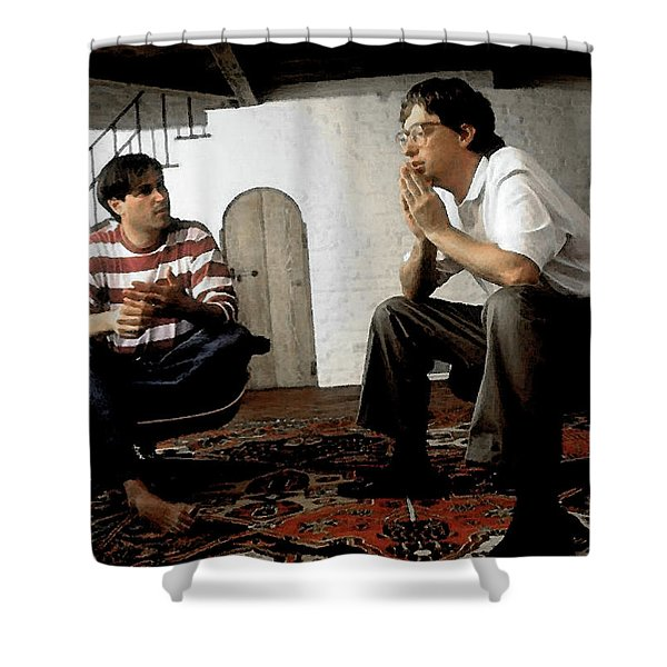 Steve Jobs And Bill Gates - 1970's - Watercolor Shower Curtain
