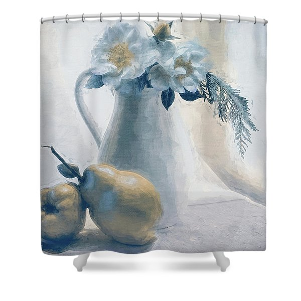 Still Life Of Flowers And Fruits Shower Curtain