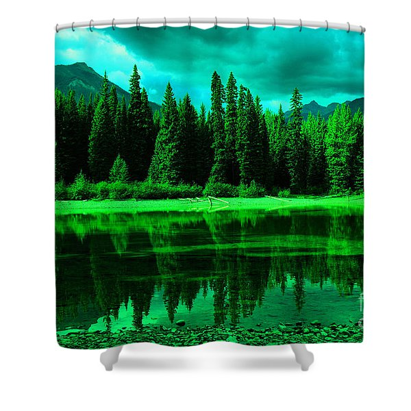 Stillwater Reflecting Trees And Mountains Shower Curtain