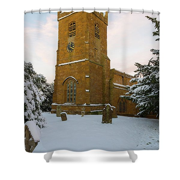 Stone Church In The Snow At Sunset Shower Curtain