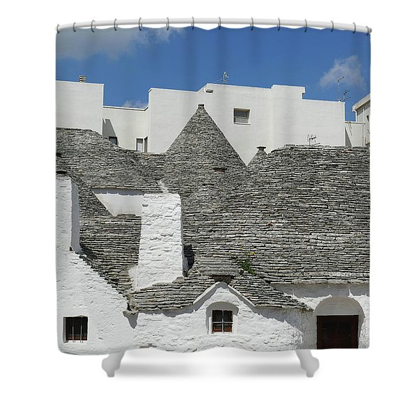 Stone Coned Rooves Of Trulli Houses Shower Curtain