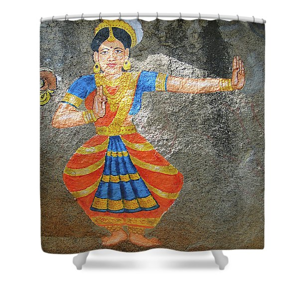 Stone Painting Of Nautch Dancing Gir Shower Curtain