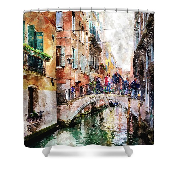 People On Bridge Over Canal In Venice, Italy - Watercolor Painting Effect Shower Curtain