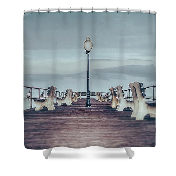 Stormy Boardwalk Shower Curtain