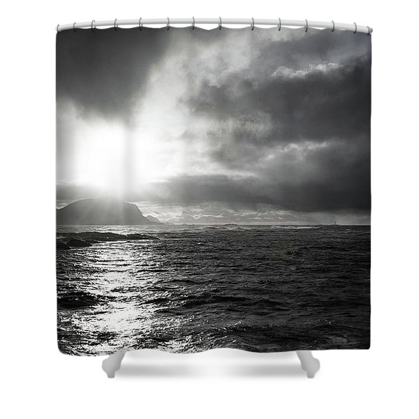 stormy coastline in northern Norway Shower Curtain