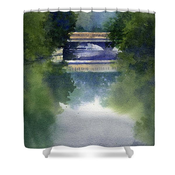 Stormy Day On Bridge Road Shower Curtain