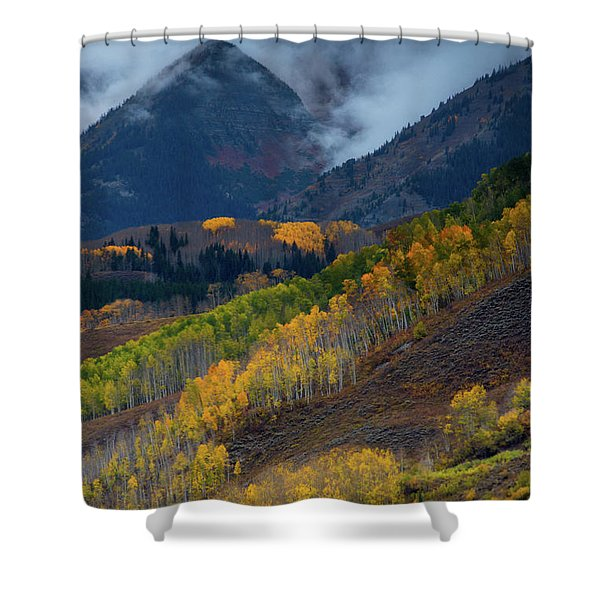Shower Curtain featuring the photograph Stormy Weather Over The Elks by John De Bord