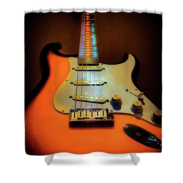 Stratocaster Triburst Glow Neck Series Shower Curtain