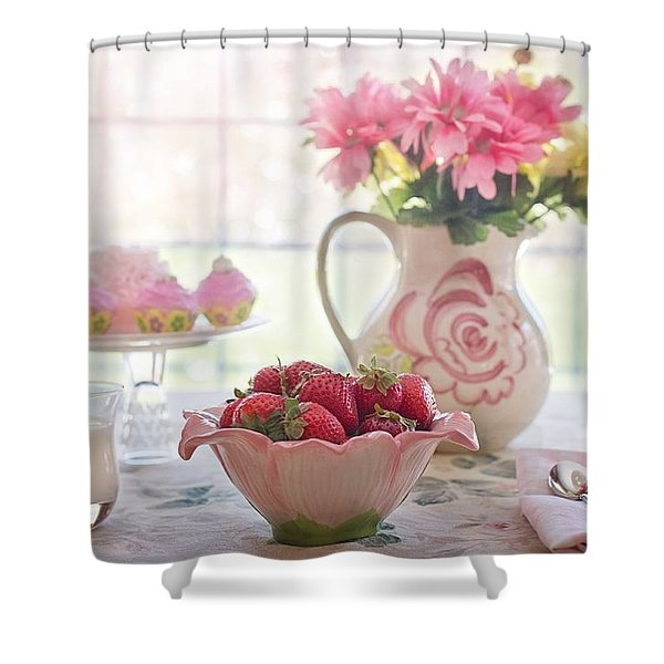 Strawberry Breakfast Shower Curtain