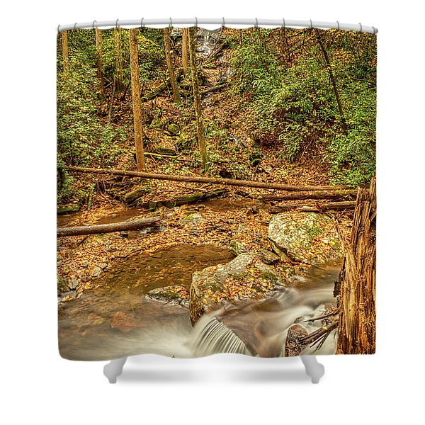 Shower Curtain featuring the photograph Stream Waterfalls by Meta Gatschenberger
