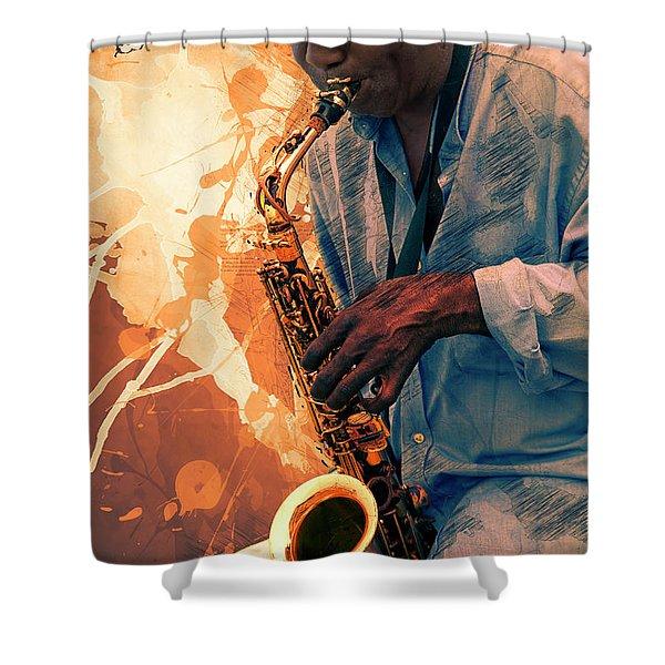 Street Sax Player Shower Curtain