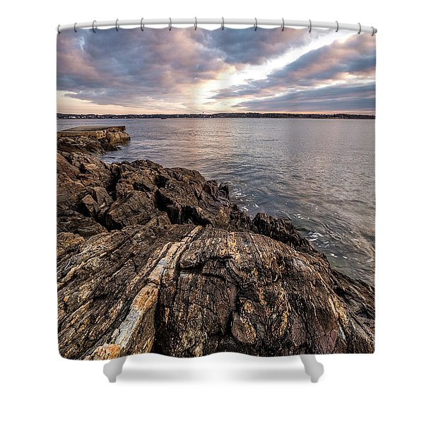 Shower Curtain featuring the photograph Striations. Leading Lines In The Rocks by Jeff Sinon