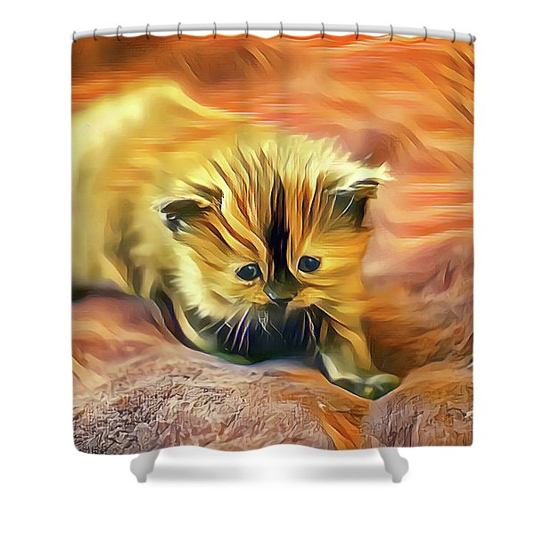 Striped Forehead Kitten Shower Curtain
