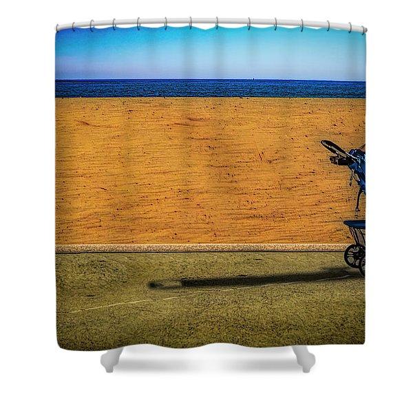 Stroller At The Beach Shower Curtain