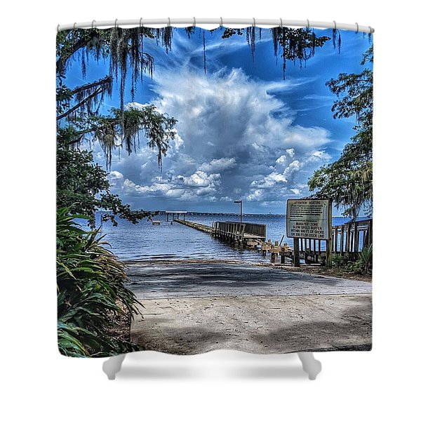 Strolling By The Dock Shower Curtain