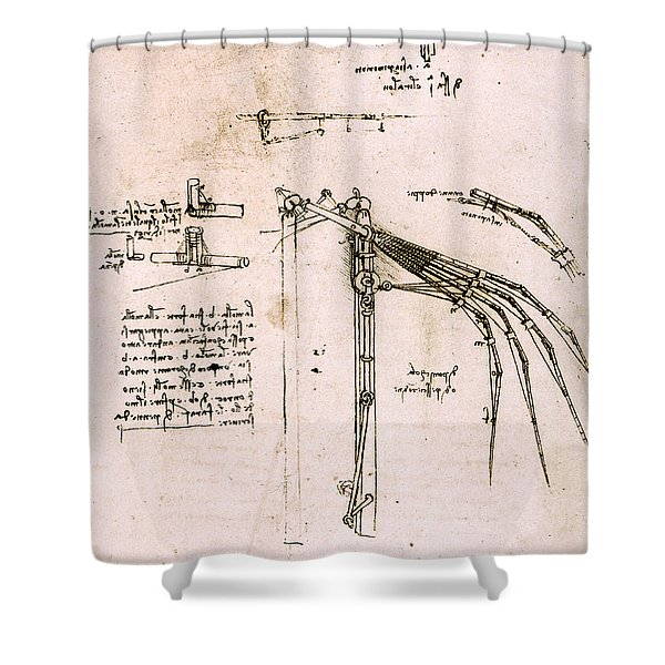 Study On Wings, Codex Atlantic Shower Curtain