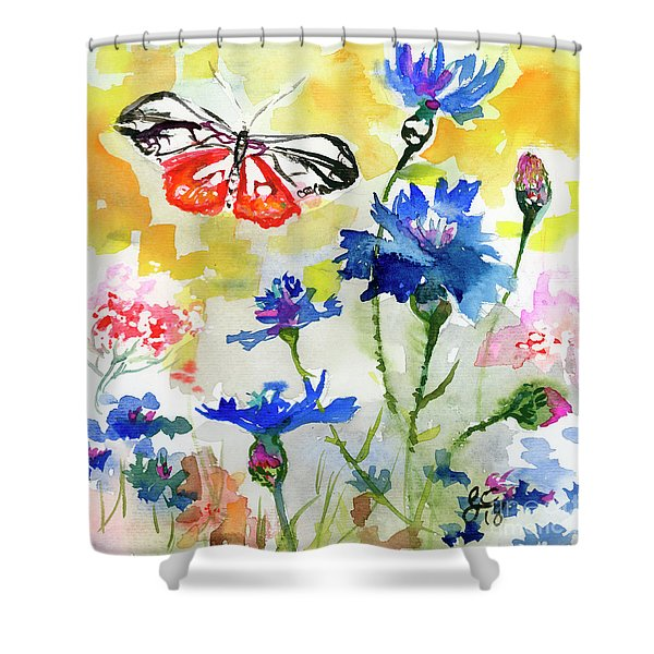 Summer Butterfly In Cornflowers Shower Curtain