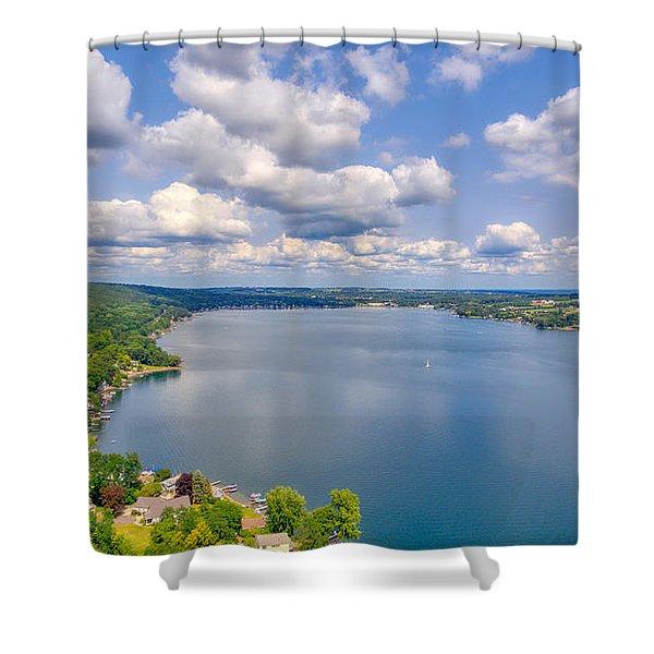 Summer Clouds On Keuka Lake Shower Curtain
