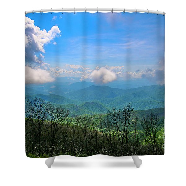 Shower Curtain featuring the photograph Summer Mountain View by Tom Claud