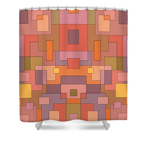 Summer Peach Abstract Shower Curtain