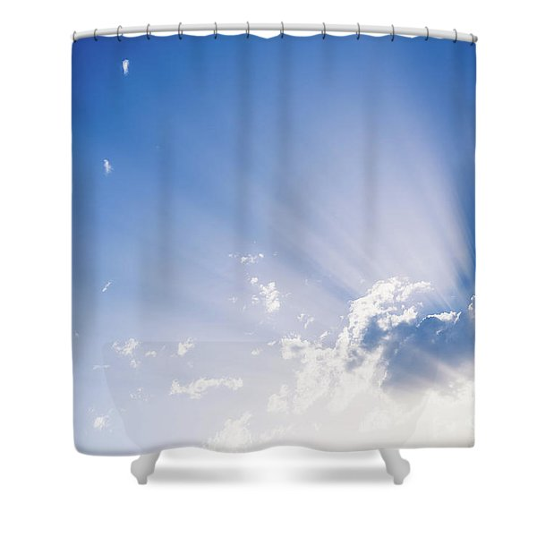 Sunbeams Rising From A Large Cloud In Intense Blue Sky On A Summer Afternoon Shower Curtain