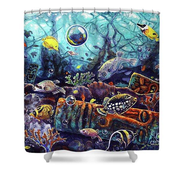 Sunken Tiki Reef Shower Curtain