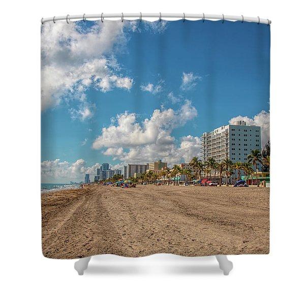 Sunny Day At Hollywood Beach Shower Curtain