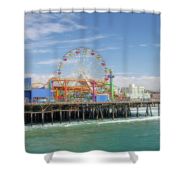 Sunny Day On The Santa Monica Pier Shower Curtain