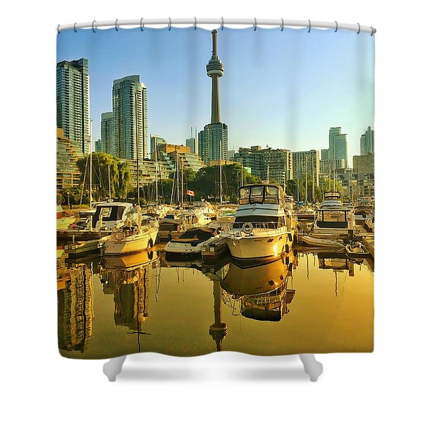 Sunrise At The Harbour Shower Curtain