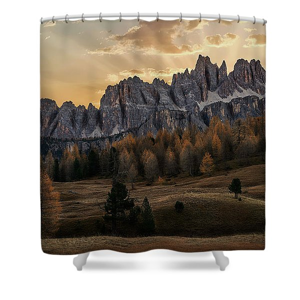 Sunrise In The Dolomites Shower Curtain