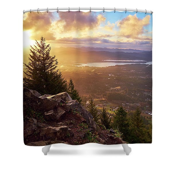 Shower Curtain featuring the photograph Sunrise On Neahkahnie by Whitney Goodey