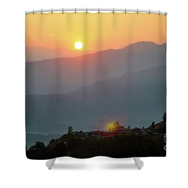 Shower Curtain featuring the photograph Sunset Above Mountain In Valley Himalayas Mountains by Raimond Klavins