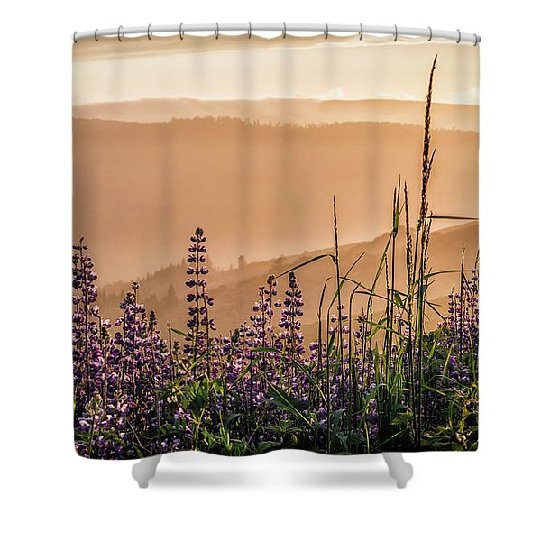 Sunset Among The Lupine Shower Curtain