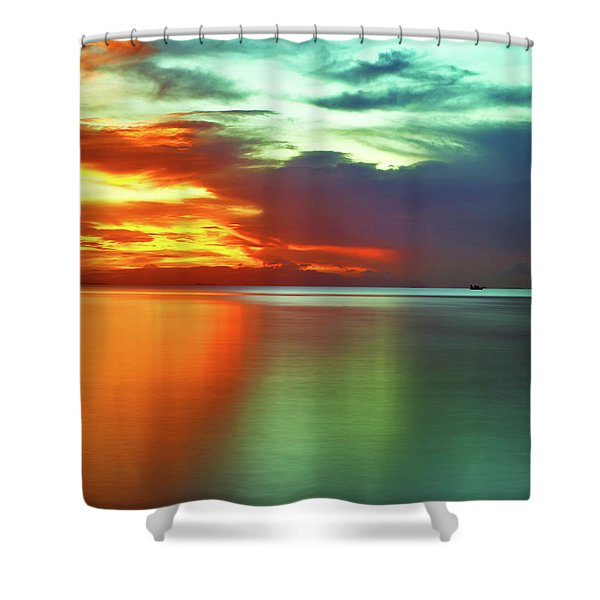 Sunset And Boat Shower Curtain