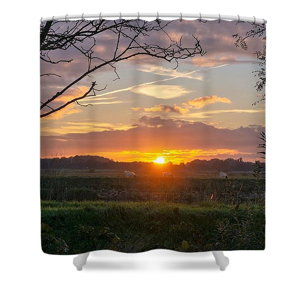 Shower Curtain featuring the photograph Sunset by Anjo Ten Kate