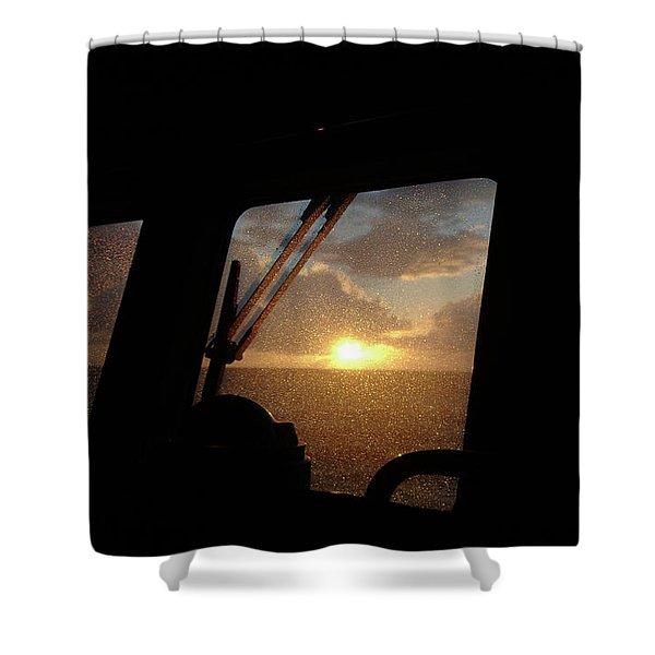 Sunset At Sea Shower Curtain