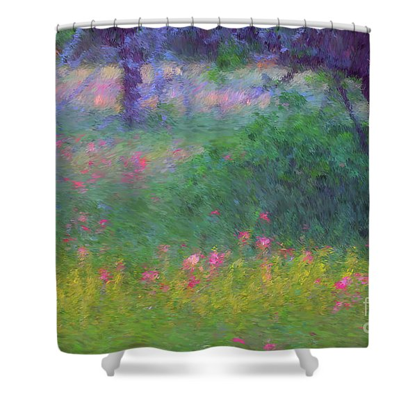Sunset In Flower Meadow Shower Curtain