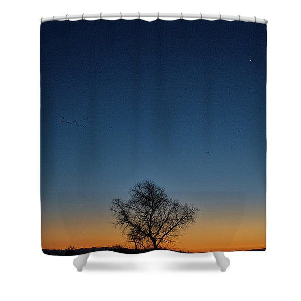 Sunset In The Refuge With Moon Shower Curtain