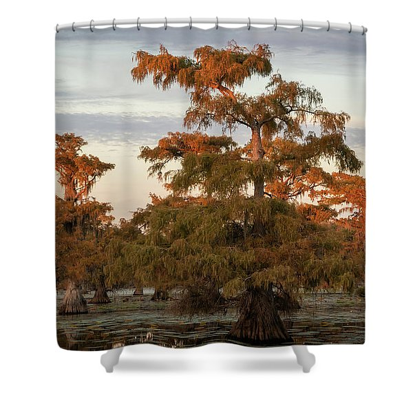Sunset In The Swamps Of Caddo Lake, Texas Shower Curtain
