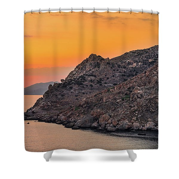 Shower Curtain featuring the photograph Sunset Near Cape Tainaron by Milan Ljubisavljevic